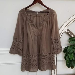 Olive Boho Tunic with Extensive Details Size Med